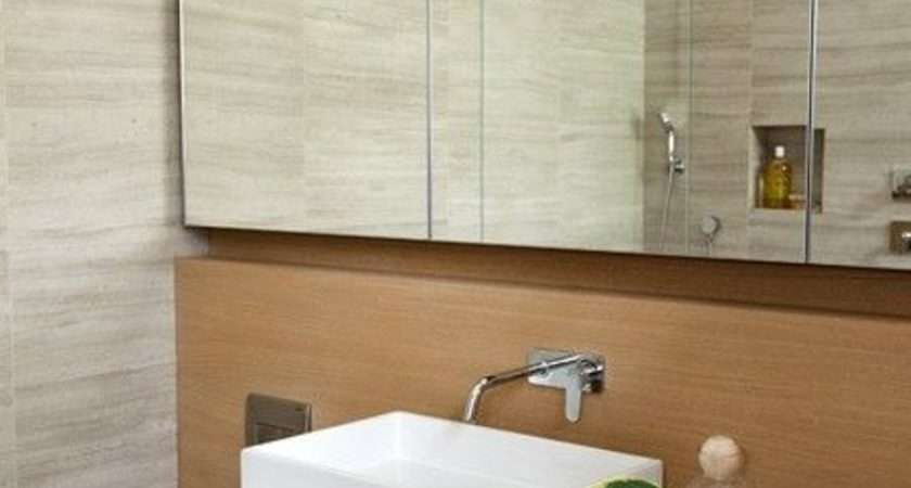 Frameless Mirror White Sink Modern Bathroom