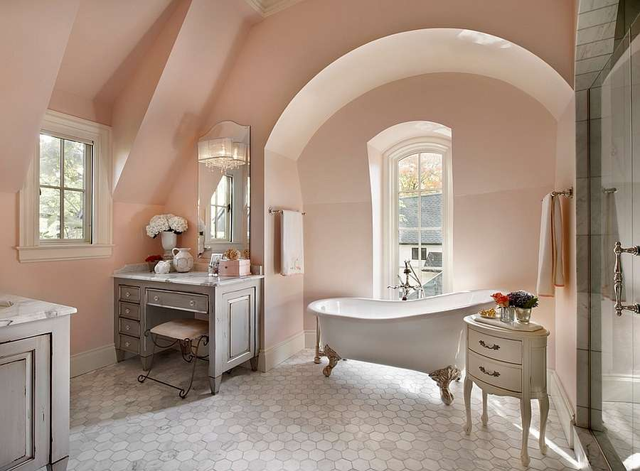 French Country Style Bathroom Uses Light Pink Shade Design Charles