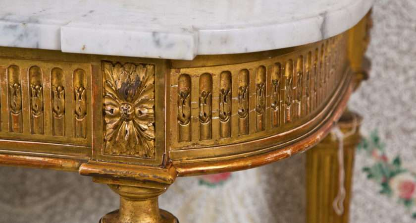 French Louis Xvi Style Gilded Console Table Jansen Stdibs