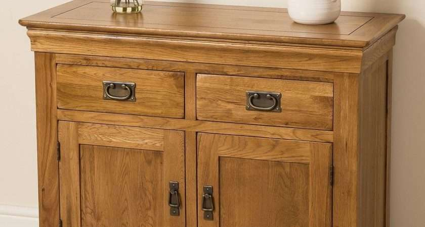 French Rustic Solid Oak Wood Small Sideboard Storage