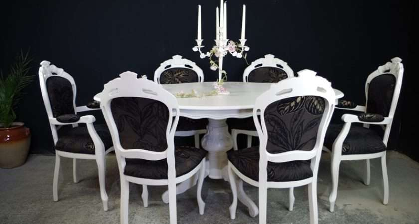 French Style Dining Table Louis Chairs Painted