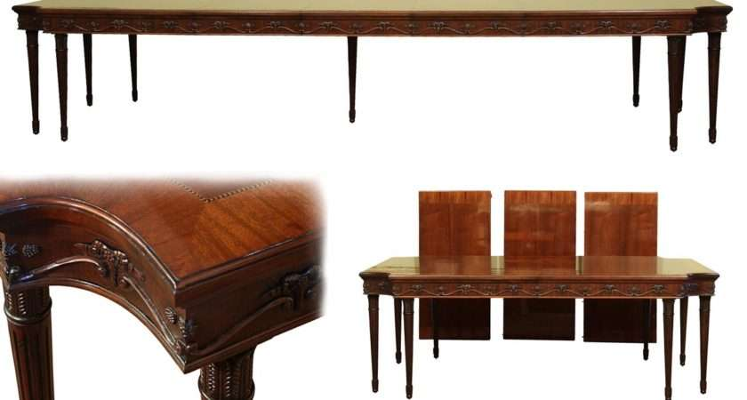 French Style Neoclassical Leg Mahogany Dining Table