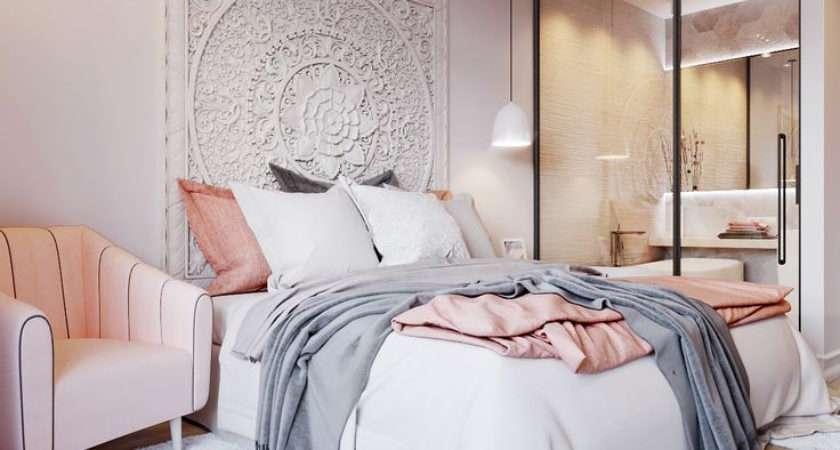 Fresh Light Pink Grey Bedroom