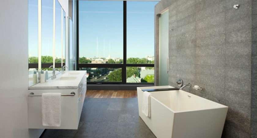 Fresh Natural White Gray Modern Style Bathroom Design Idea