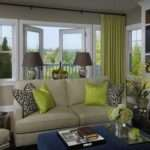 Fun Green Blue Living Room Design Gray Walls Paint Color
