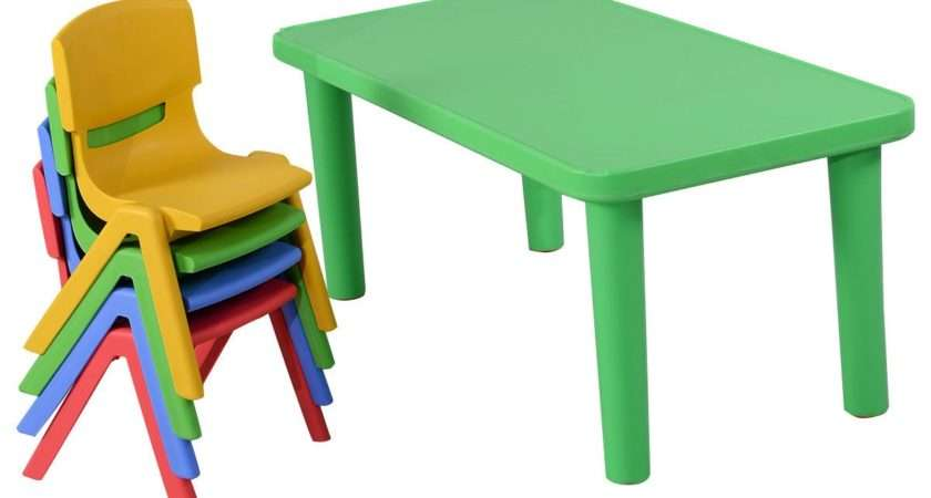Fun Kids Plastic Table Chairs Set Colorful Play