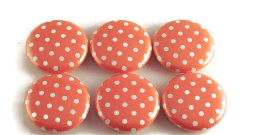 Funky Button Magnets Refrigerator Tangerine Polka