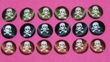 Funky Skulls Fabric Covered Buttons Available