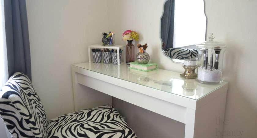 Furniture Simple Diy White Wood Makeup Vanity Table Glass Top