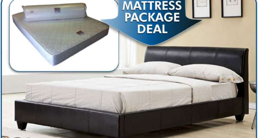 Galaxy Black Faux Leather Bed Combined Eliocel