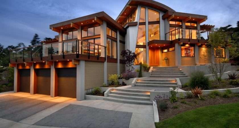 Garages Driveway Lighting Modern Home Victoria British Columbia