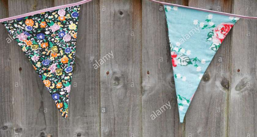 Garden Bunting Hanging Wooden Fence Made Scraps Floral