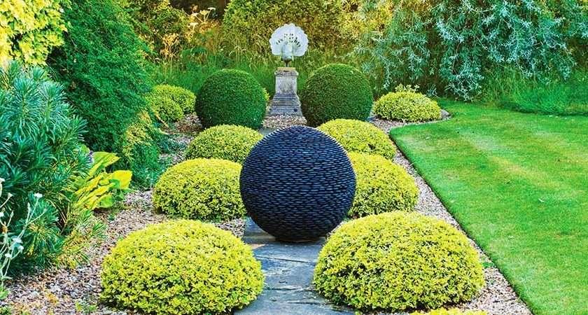 Garden Sphere Black Stone Slate Glass
