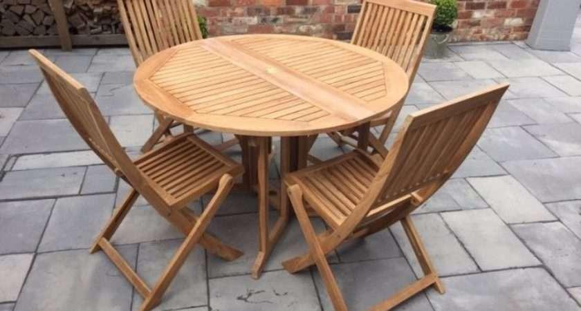 Garden Table Chairs Wooden Teak Bistro Set