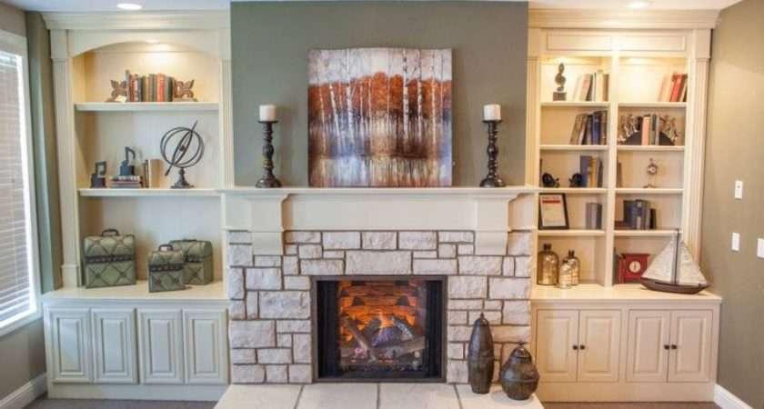 Gas Fireplace Stone Surround Custom Built Bookshelves All