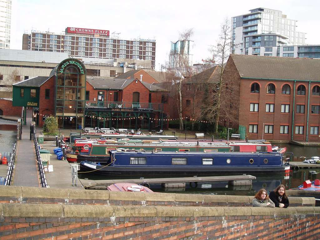 Gas Street Basin Narrow Boats Moored Front Jame