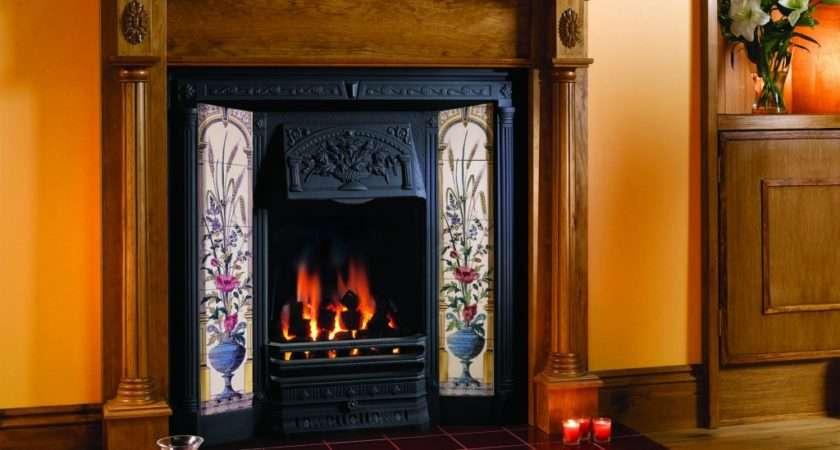 Gazco Poppy Wheatsheaf Classic Victorian Tiled Fireplace