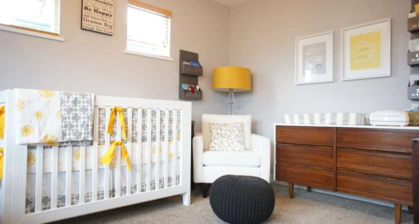 Gender Neutral Nursery Grey White Mustard Project