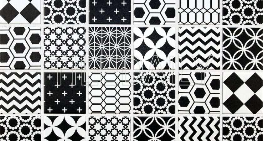 Geometric Pattern Mosaic Tile Black White Tiledaily