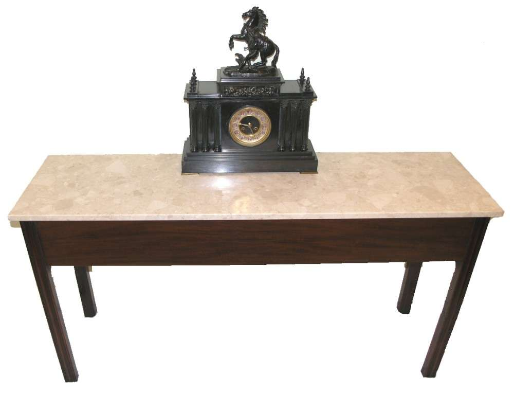 Georgian Marble Topped Mahogany Narrow Hall Table Loveantiques