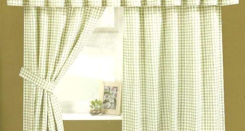 Gingham Check Curtain Inclucing Pelmet Tie Backs Ebay