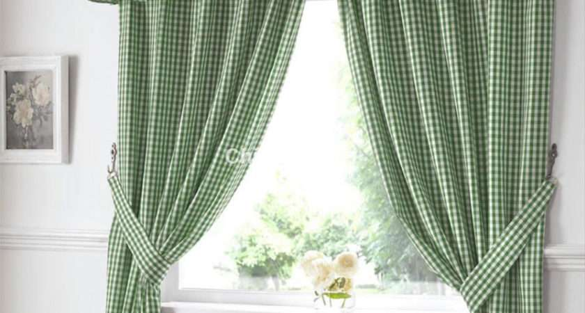 Gingham Ready Made Kitchen Curtains Green