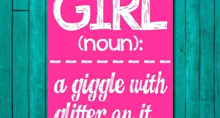Girl Wall Art Room Decor Giggle Glitter