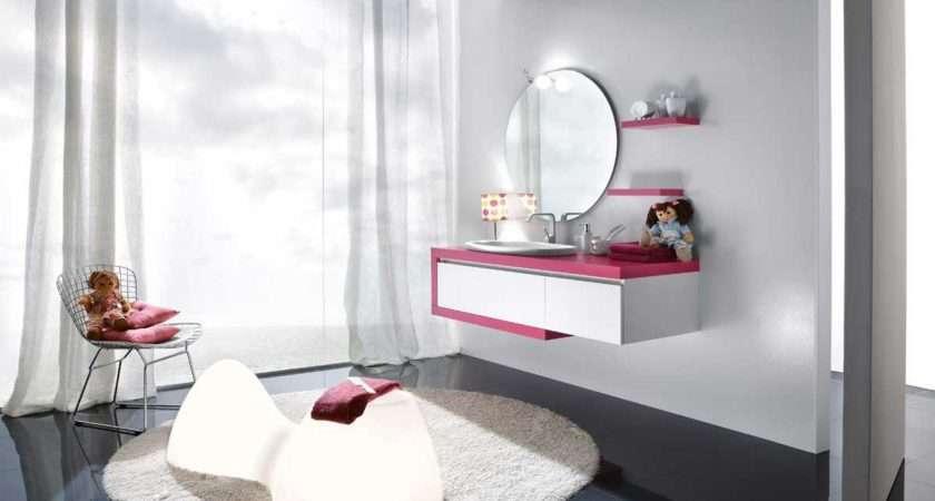 Girls Bathroom Ideas Pink White Wallmounted