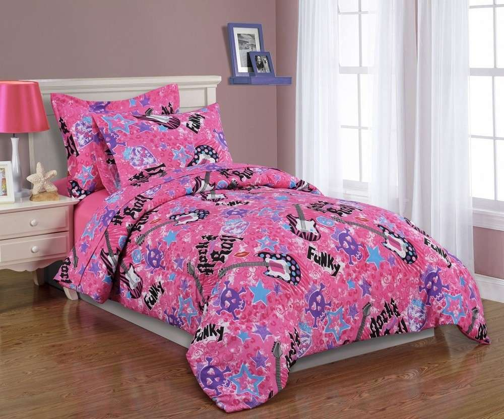 Girls Kids Bedding Twin Comforter Set Rock Roll Pink