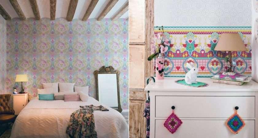 Girly Violet Blue Floral Bedroom