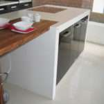 Glacier White Corian Wood Breakfast Bar Counter Production Ltd