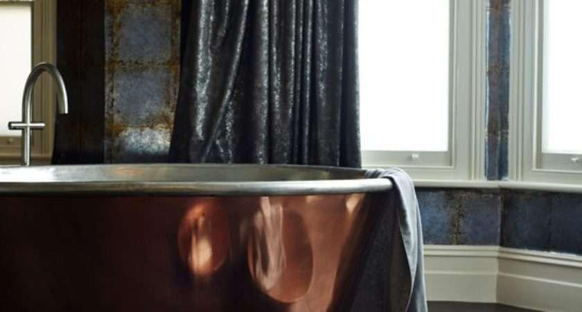 Glamorous Modern Bathroom Copper Roll Top Bath