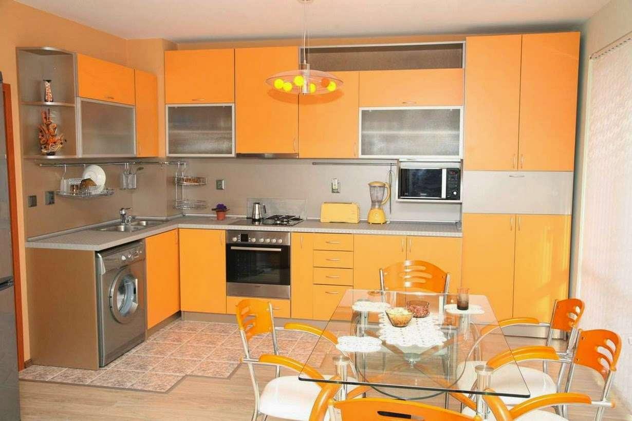 Glamorous Orange Kitchen Cabinets Gray Backsplash Furnished