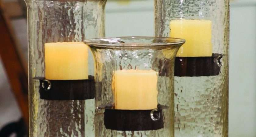 Glass Candle Hurricanes Rustic Insert Ebay