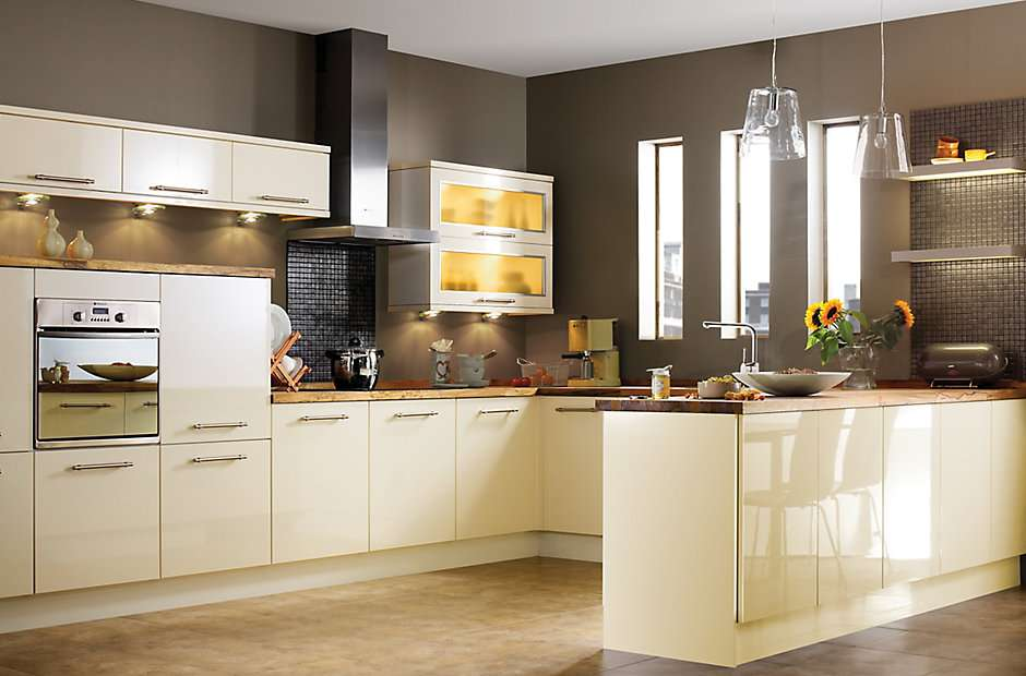 Gloss Cream Slab Kitchen Ranges Rooms Diy