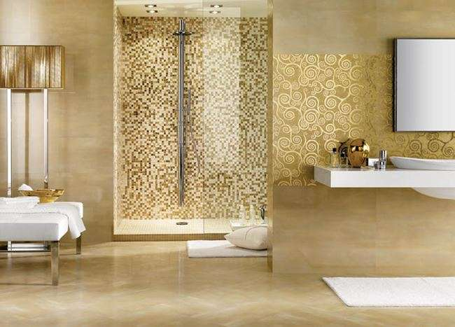 Gold Bathroom Design Mosaic