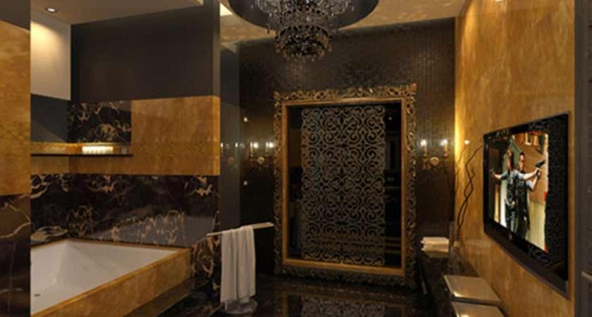 Gold Bathroom Idea Curtains Housetohome
