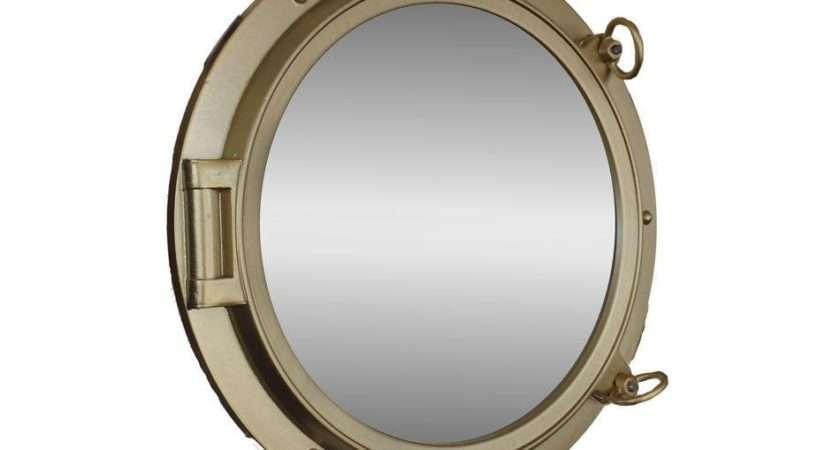 Gold Finish Porthole Mirror Coastal Style Gifts