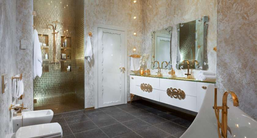 Gold White Bathroom Interior Design Ideas