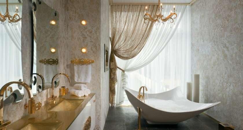 Gold White Bathroom Vanity Interior Design Ideas