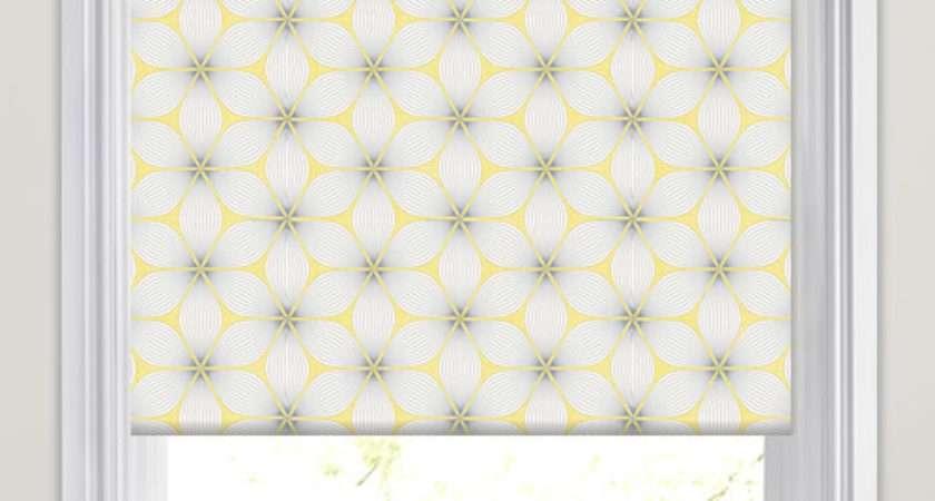 Golden Yellow Grey White Retro Geometric Patterned