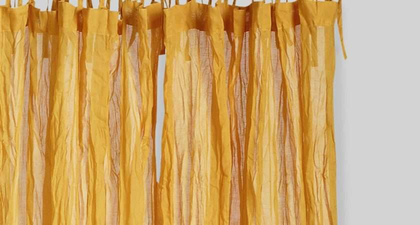 Golden Yellow Tie Top Crinkle Voile Curtains Set