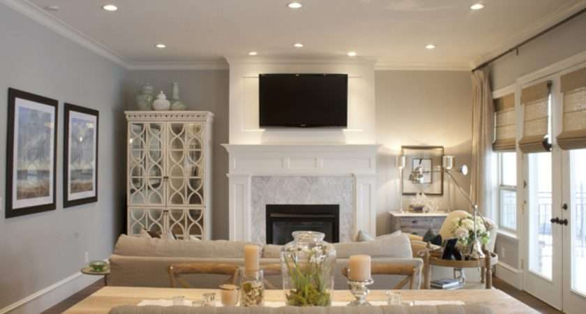 Gorgeous Open Living Room Design Gray Walls Paint Color Green