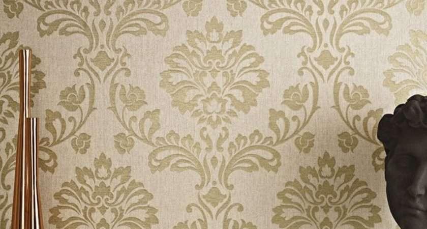Graham Brown Aurora Damask Pattern Textured Glitter