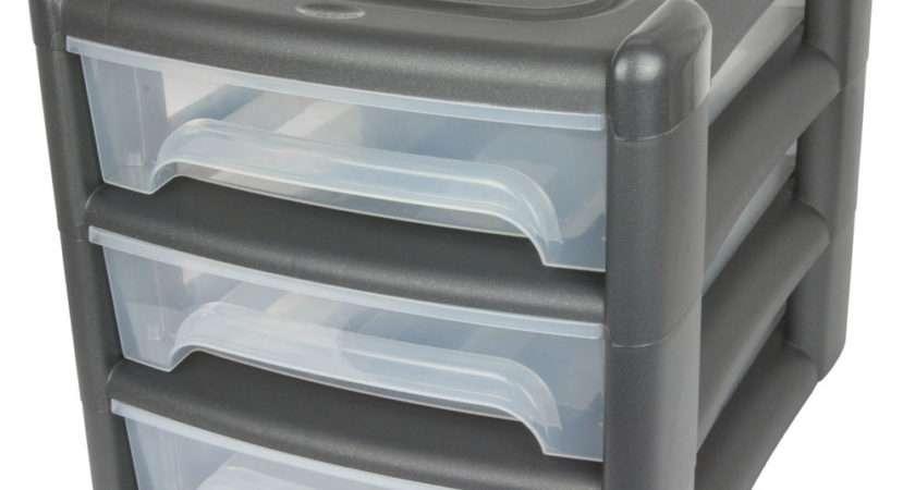 Graphite Grey Drawer Storage Tower Desk Organiser Tidy