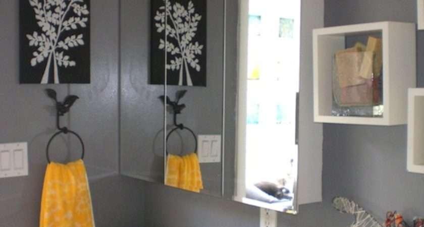 Gray Bathroom Decor Black Grey Yellow