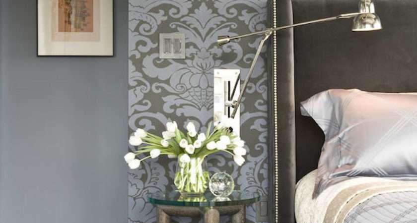 Gray Blue Damask Transitional Bedroom
