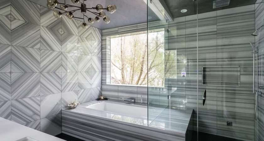 Gray Contemporary Bathroom Features Ceiling Lined Smoke