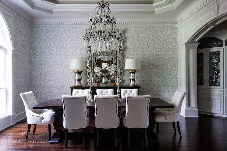 Gray Damask Traditional Dining Room Paloma Contreras