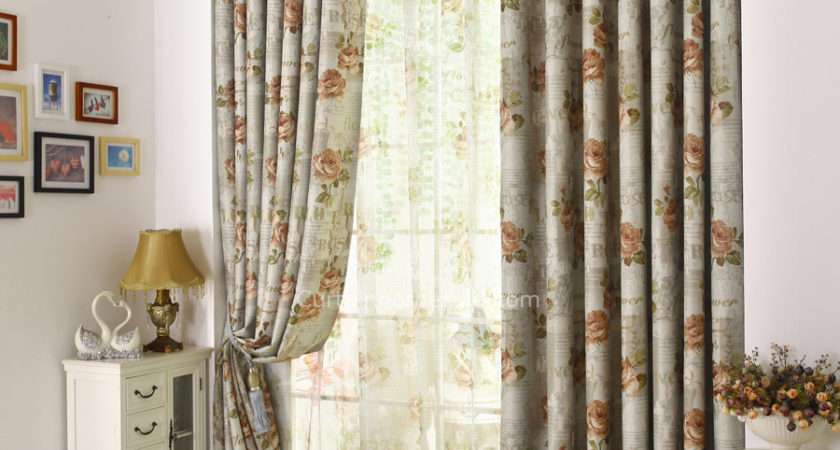 Gray Floral Print Polyester Insulated Country Bedroom Curtains